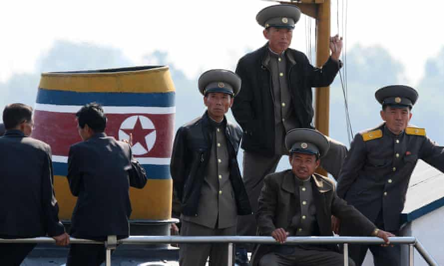 Soldiers on a North Korean vessel.