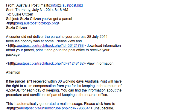 ABC malicious email