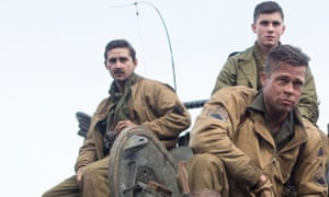 LaBeouf with Lerman and Pitt on the set of Fury.