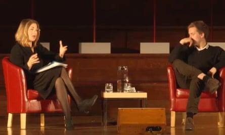 Klein Naomi speaking to Owen Jones