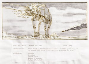 Stpryboard from Star Wars Episode 5: The Empire Strikes Back showing the opening Hoth Battle sequence entitled: A Walker gets shot by a lazer and zaps back. Smoking speeder in the background