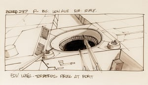 One of a pair of Joe Johnston storyboards of 'Luke Skywalker' firing at the 'Death Star' in Star Wars: Episode IV - A New Hope, titled 'P.O.V Luke Torpedos firing at port.'. Luke was originally to have two trench runs, but the first was cut in post-production, so these panels represent the only visual reference of the first run