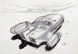 Joe Johnstone original concept art for a 'Landspeeder' from Star Wars: A New Hope, showing the a rear view of the craft that Luke flies when he goes to visit his uncle on the planet Tatooine made in pencil, ink and marker pen