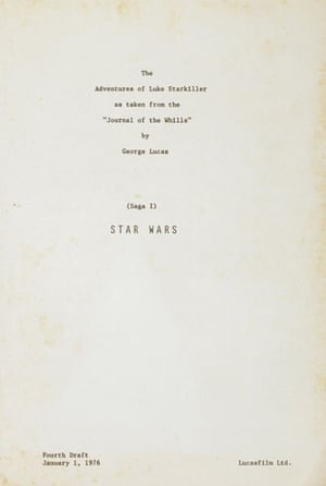 "The first internal title page of this Fourth Draft of the cast script dated 1 January 1976 of Stars Wars IV: A New Hope reveals its original title: The Adventures of Luke Starkiller as taken from the ""Journal of the Whills"" by Goerge Lucas"