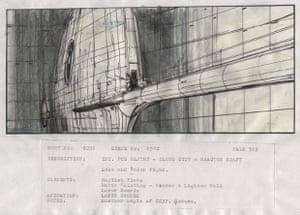 First of a pair of storyboard sketches of the famous lightsaber battle from Episode VI - Return of The Jedi, in which Darth Vader tells Luke Skywalker that he is his father before chopping off his arm at the climax of the second film, titled 'Int Reactor Shaft - Cloud City', made in pen ink and pencil.
