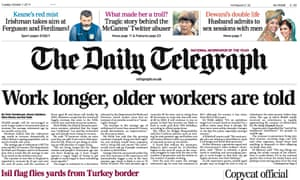 Telegraph front page 7 October