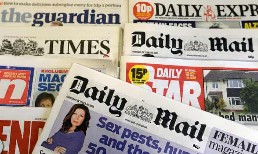 British national newspapers on display at a newsagent's in London, Britain, 11 October 2013.