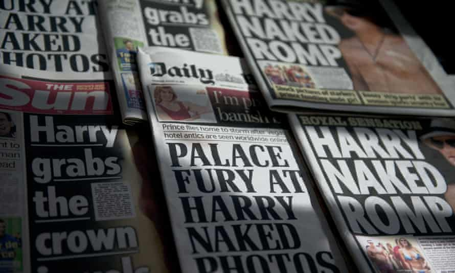 An arrangment of British daily newspapers photographed in London on August 23, 2012 shows the front-page headlines and stories regarding nude pictures of Britain's Prince Harry.