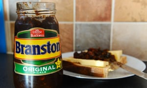 A jar of Branston pickle and a cheese sandwich