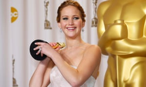 Jennifer Lawrence with her best actress Oscar.