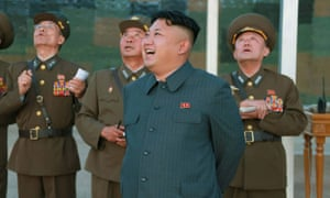 Kim Jong-un overseeing a drill of paratrooper units in August in Pyongyang