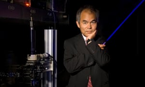 Shuji Nakamura with a blue laser, one application of his breakthrough. His invention was valued at $