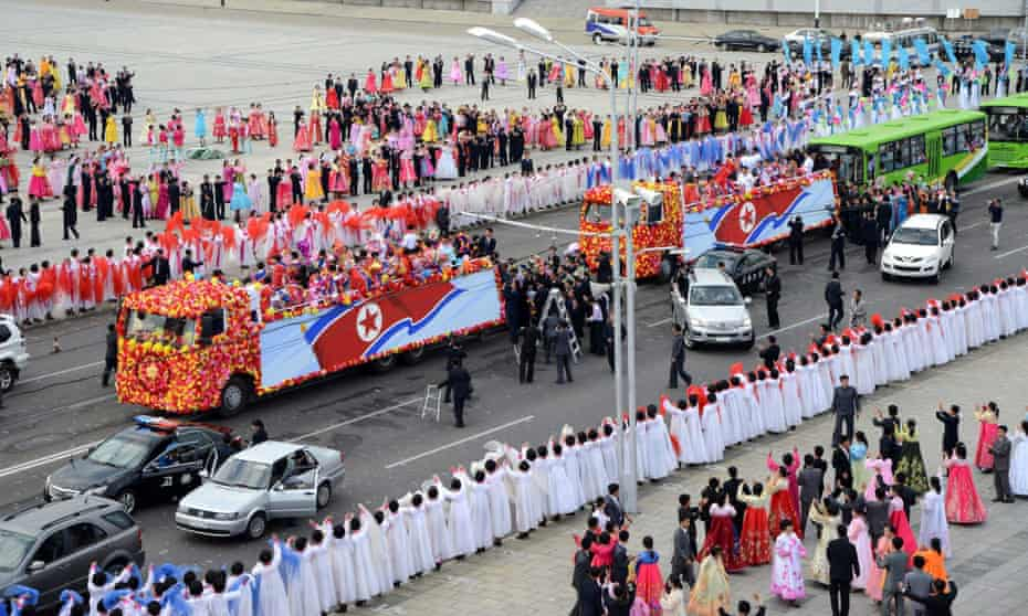 North Korea's Asian games athletes welcomed back to Pyongyang.