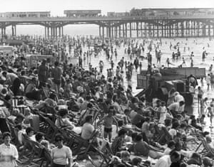 The packed beach at Blackpool at the height of the summer holiday season in 1970.