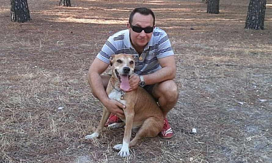 Javier Limón Romero with Excalibur. He said the authorities should put the dog in quarantine rather
