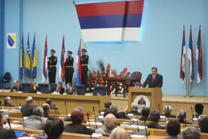 Milorad Dodik, newly elected President of the Republic of Srpska(R) speaks after an official inauguration ceremony at the National Assembly in Banja Luka, Bosnia.