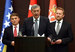 Members of the Presidency of Bosnia and Herzegovina Zeliko Komsic (L), Nebojsa Radmanovic (C), and Bakir Izetbegovic.