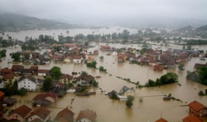 The aerial view of homes and land submerged due to heavy rain fall in 24 hours in Doboj, central Bosnia.
