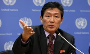 North Korea's deputy UN ambassador, Ri Tong-il, during a briefing where diplomats admitted the existence of 'reform through labour' camps.