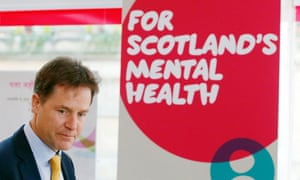Nick Clegg during a visit to the Scottish Association for Mental Health in Glasgow.