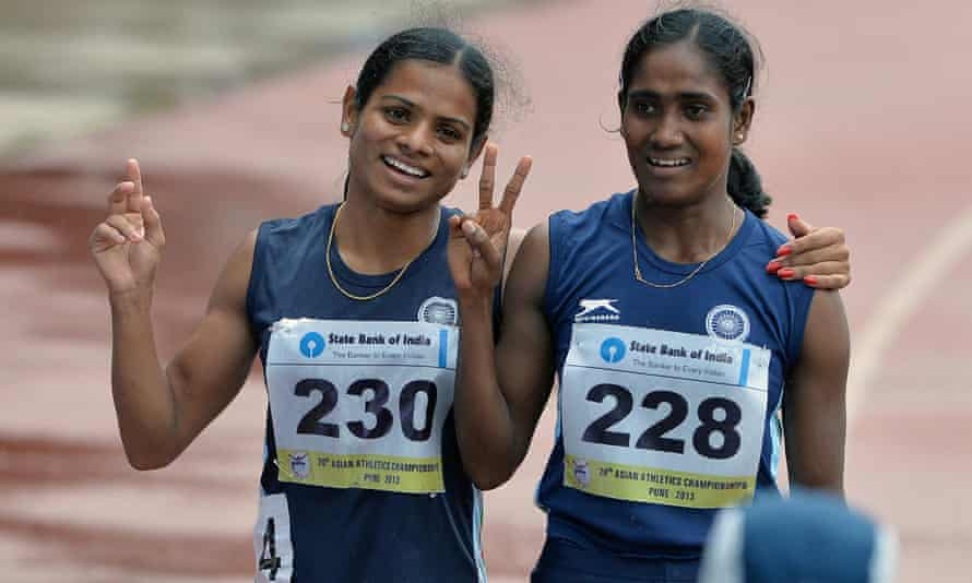 India's Dutee Chand (right) was forced to miss the Commonwealth Games due to a controversial testosterone test.