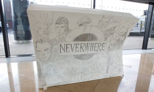The book-shaped bench inspired by Neil Gaiman's Neverwhere, illustrated by Chris Riddell.