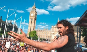 Russell Brand speaking at an anti-austerity protest in June.