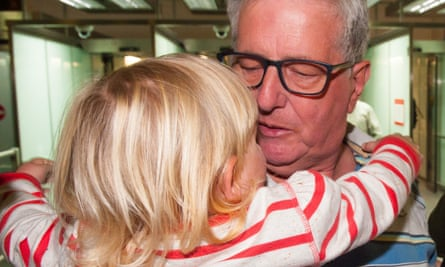 Ray Coles is greeted by his grand-daughter, Mia-Louise.