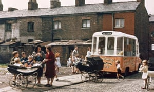 An ice-cream van in Hulme, Manchester, 1965.