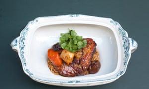 Pork belly tagine on a ceramic tray