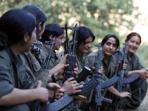 A group of female PJAK guerrillas in the Qandil mountains, Kurdistan, 2013.