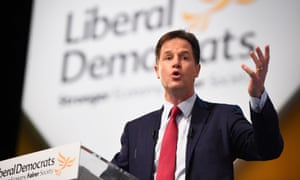 Deputy Prime Minister and Liberal Democrat leader Nick Clegg delivers his keynote speech on the last day of the Liberal Democrat Autumn conference at the SECC in Glasgow.