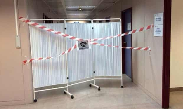 Isolation measures at Hospital Alcorcon - an image widely shared on social media from an anonymous source at the hospital