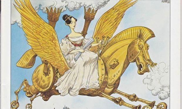"""Ada Lovelace em seu cavalo voador, inspirado no livro """"Flyology"""" (Foto: Illustration by Chris Riddell)"""
