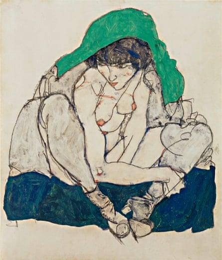 Egon Schiele Crouching Woman with Green Kerchief, 1914