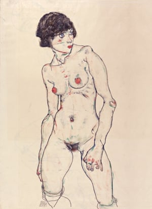Egon Schiele (1890-1918) Standing Nude with Stockings, 1914