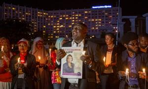 A vigil in Abuja for victims of Ebola including Ameyo Adadevoh