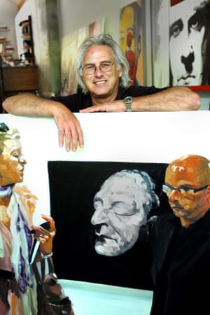 Eric Fischl with one of his art-fair paintings.