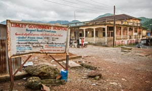 A roadsign for Lumley hospital, where Olivet Buck worked before contracting the Ebola virus. She died, hours after the UN health agency said it could not help evacuate her to Germany.