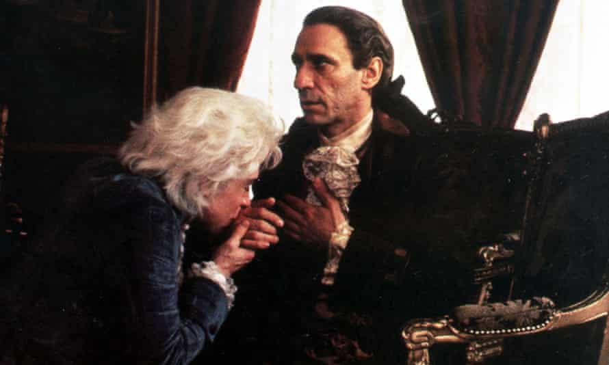 Tom Hulce as Mozart and F Murray Abraham as Salieri, in the film Amadeus