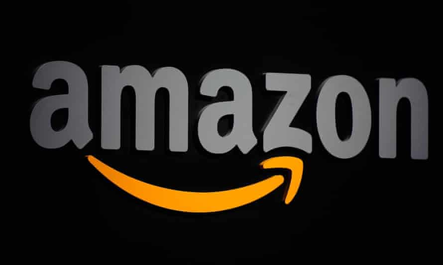 The Amazon logo seen on a podium during a press conference in New York.