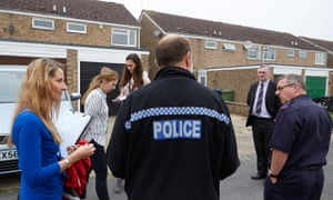 Fenland district council officers, police and fire fighters carry out house inspections in