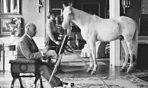 Lord Berners paints a picture of Penelope Betjeman and Moti, her Arab pony, in 1938.