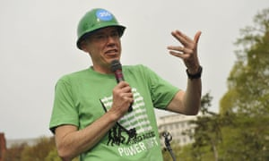 Writer Bill McKibben speaks in Lafayette Park as thousands of environmentalists and climate change activists from around the country march in Washington, DC, on April 19, 2011, in a protest sponsored by 350.org, Power Shift, and other organizations.