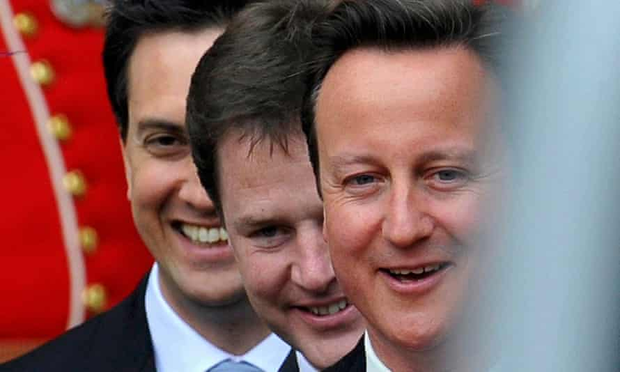 Labour Party leader Ed Miliband, Deputy Prime Minister Nick Clegg and Prime Minister David Cameron
