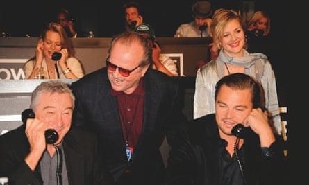 Robert De Niro, Jack Nicholson, Leonardo DiCaprio and Drew Barrymore at the Hope for Haiti Now telethon in 2010