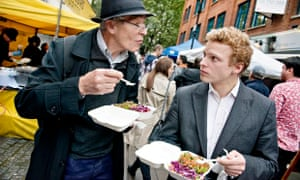 Diners enjoying street food