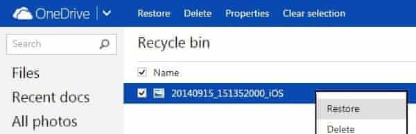 onedrive restore files screengrab