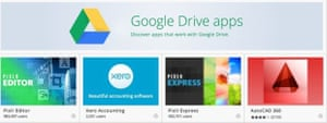 Apps on Google Drive Screengrab