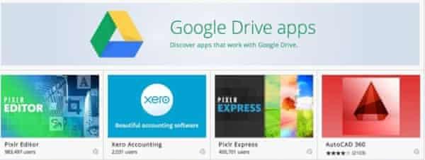 apps in google drive screengrab